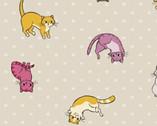 Caturday - Cat Toss Beige by Felice Regine from Windham Fabrics