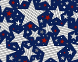 Brave and Free - Striped Stars Blue by Whistler Studios from Windham Fabrics