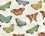 Bookshelf Botanicals - Butterflies Cream Metallic by Whistler Studios from Windham Fabrics