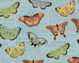 Bookshelf Botanicals - Butterflies Blue Metallic by Whistler Studios from Windham Fabrics