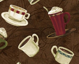 International Coffee - Coffee Cups Brown by Whistler Studios from Windham Fabrics