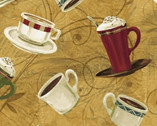 International Coffee - Coffee Cups Tan by Whistler Studios from Windham Fabrics