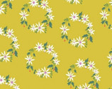 Daisy Chain - Daisy Wreath Mustard Yellow by Annabel Wrigley from Windham Fabrics