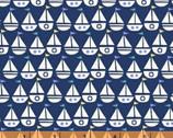 Seaside - Sailboats Navy Blue by Jill McDonald from Windham Fabrics