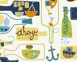 Seaside - Message In A Bottle by Jill McDonald from Windham Fabrics