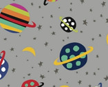 Aliens - Planets Gray by Jan Avellana from Windham Fabrics