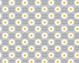 Love Me Love Me Not - Retro Daisy Mid Grey from Lewis and Irene Fabric