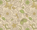 Sew Mindful - Floral Flow Mellow Yellow from Lewis and Irene Fabric