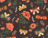 Glorious Garden - Brown Flowers and Butterflies from Quilter's Palette Fabric