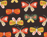 Glorious Garden - Dark Brown Butterflies from Quilter's Palette Fabric