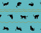 Neko 4 - Cats Waves Aqua Blue Metallic by Hyakka Ryoran from Quilt Gate Fabric
