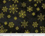 Sparkle Suede - Gold on Charcoal Black Snowflakes from P & B Textiles Fabric