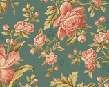 Crystal Farm - Rose Horseshoe Blue from Andover Fabrics