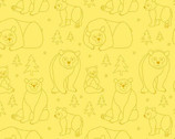 Beary Happy - Bear Doodle Yellow by Eric Carle from Andover Fabrics