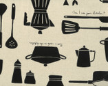 Work Style - Cooking Utensils Natural CANVAS from Lecien Fabric