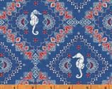 Shoreline - Bandana Seahorse Blue by Whistler Studios from Windham Fabrics