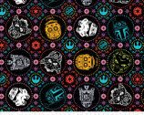 Star Wars FLEECE - Sugar Skulls Coral Portraits Black from Camelot Fabrics