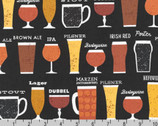 Cheers - Beer Types Black by Mo Mullan from Robert Kaufman Fabric