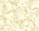 Metallic Mixers GOLD - Music Swirl Cream by Kanvas Studio from Benartex Fabric