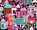Neighbourhood - Homes Trees Black by Cotton Flower Studio from Camelot Fabrics