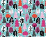 Neighbourhood - Trees Aqua by Cotton Flower Studio from Camelot Fabrics