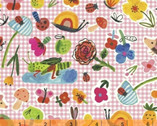 BFFS - Garden Objects Gingham Pink by Carolyn Gaven from Windman Fabrics