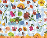 BFFS - Garden Objects Gingham Blue by Carolyn Gaven from Windman Fabrics
