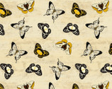 Sunset Blooms  - Butterflies Allover Tan by Anne Rowan from Wilmington Prints Fabric