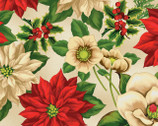 Holiday Lane - Large Floral Tan by Anne Rowan from Wilmington Prints Fabric