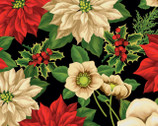 Holiday Lane - Large Floral Black by Anne Rowan from Wilmington Prints Fabric