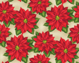 Holiday Lane - Poinsettia Tan by Anne Rowan from Wilmington Prints Fabric