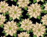Holiday Lane - Poinsettia Black by Anne Rowan from Wilmington Prints Fabric