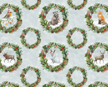 Friendly Gathering - Wreaths Animals Multi by Michael Davis from Wilmington Prints Fabric