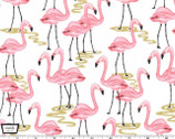Glitter Critters Metallic - Flamingo Bay White from Michael Miller Fabrics