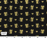 Glitter Critters Metallic - Nice Mice Black from Michael Miller Fabrics