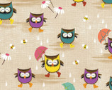 Ain't Life A Hoot - Owls In Rain Beige by Phyllis Meiring from Henry Glass Fabric