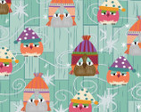 Ain't Life A Hoot - Owls In Hats Teal Aqua by Phyllis Meiring from Henry Glass Fabric