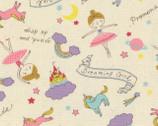 Putite Etoile - Girl Dreaming Toss OXFORD Cream from Kokka Fabrics