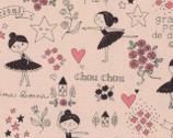 Putite Etoile - Black and White OXFORD Pink from Kokka Fabrics