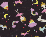 Putite Etoile - Girl Dreaming OXFORD Black from Kokka Fabrics