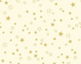 Metallic Mixers GOLD - Stars Cream by Kanvas Studio from Benartex Fabric