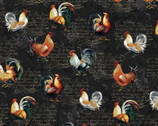 Farmer's Market - Roosters Script Charcoal Black from Studio E Fabrics