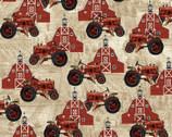 Farmer's Market - Barn Tractor Beige from Studio E Fabrics