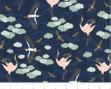Mystic Cranes - Majestic Cranes Navy Gold Metallic by Teresa Chan from Camelot Fabrics