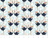 Mystic Cranes - Dancing Cranes Blue Gold Metallic by Teresa Chan from Camelot Fabrics