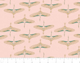 Mystic Cranes - Flying Cranes Pink Gold Metallic by Teresa Chan from Camelot Fabrics