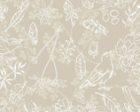 Farmhouse - Floral Outline Beige from 3 Wishes Fabric