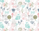 Little Thicket - Animals Farm Outline White from 3 Wishes Fabric