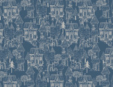 Little Thicket - Houses Landscape Navy Blue from 3 Wishes Fabric