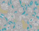 Lindos Metallic - Rhodian Deer Floral Gray from Lewis and Irene Fabric